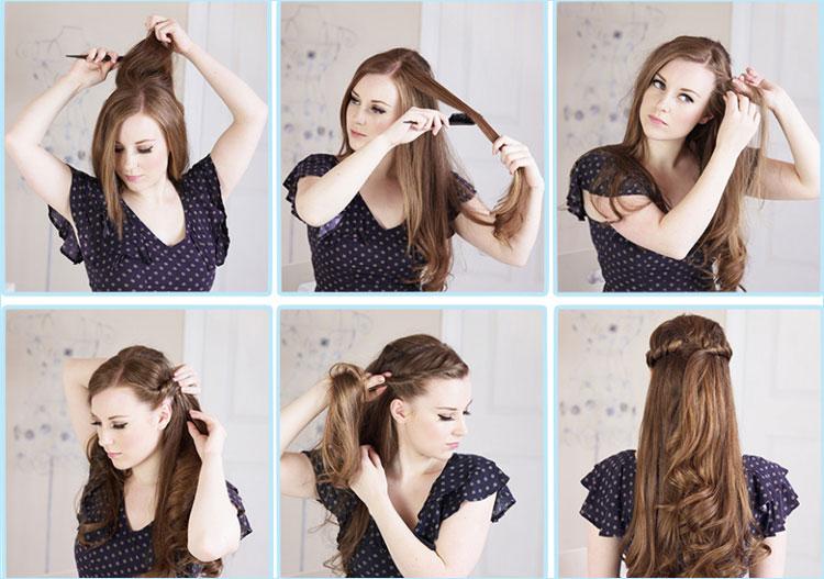 Прически с гребнем на средние, длинные волосы