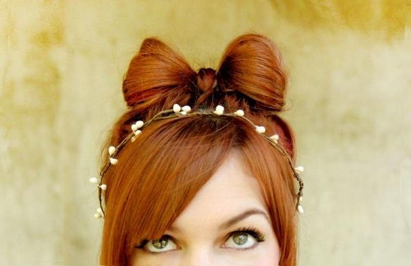 Заколки из натуральных волос бантики